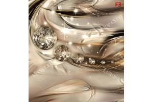 Фототапет абстрактни вълни с кристали и светлини в 3 цвята