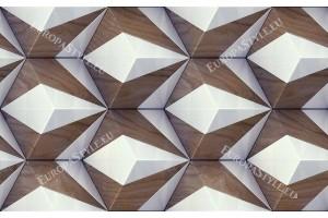 Фототапети геометрични фигури ромб с решетка дървесно 2 цвята
