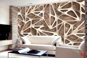 Фототапет геометрични фигури решетка с 3д ефект с дърво