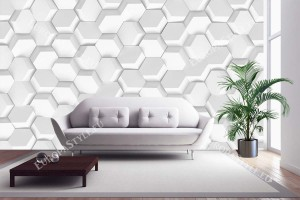Фототапет геометрична бяла стена с 3д ефект хексагон