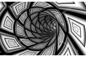 Фототапет черно бяла спирала с 3д ефект на тунел