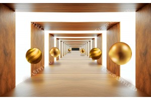 Фототапет ефектен 3д тунел със сфери дървесен декор
