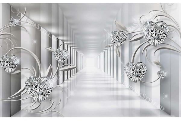 Фототапет тунел 3д ефект кристали сърца -диамантени