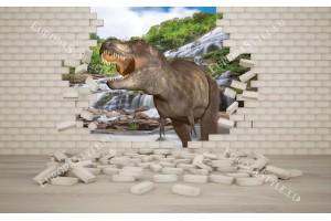 Фототапети 3D ефект тухлена стена и динозавър