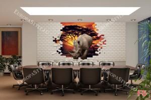 Фототапети 3D ефект тухлена стена и носорог