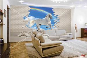 Фототапети 3D ефект тухлена стена и бял кон