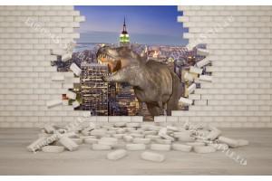 Фототапети 3д ефект  разбита тухлена стена и динозавър