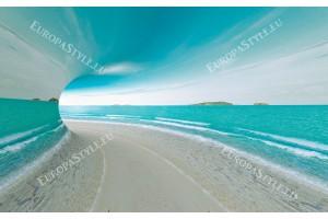 Фототапети 3D тунел с изглед на море и бряг
