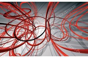 Фототапети модерни спирали в червено и сиво
