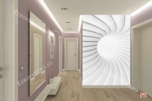 Фототапет бяло-сива спирала