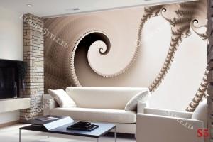 Фототапети елегантна спирала в цвят капучино