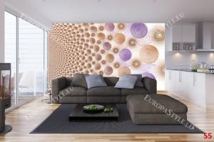Фототапет дизайнерски лилави и златни сфери