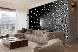 Фототапети 3D тунел спирала черна