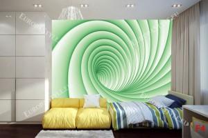 Фототапети 3D спирала в 2 цвята син и зелен