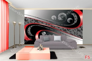 Фототапет спирали в червено и черно