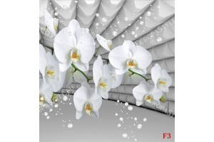 Фототапети бели орхидеи сив тунел с балончета