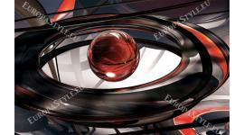 Фототапет модерна 3д абстракция със сфера в червено