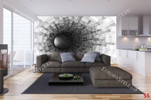 Фототапет сива спирала тунел кубове