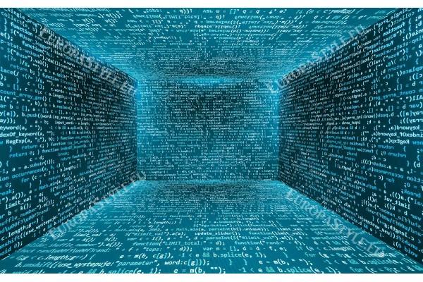 компютърна абстракция кодове надписи в 2 цвята