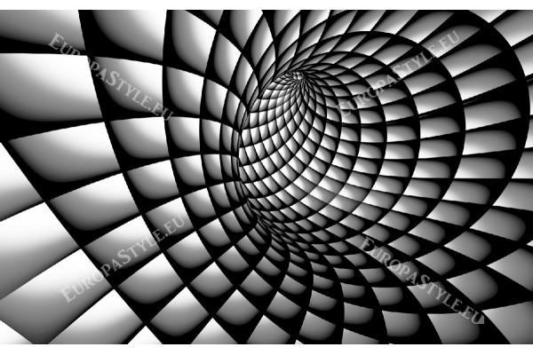 Фототапети 3д тунел спирала в бяло и черно