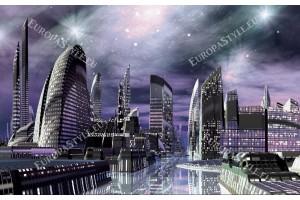 Фототапет футуристичен град в лилава светлина
