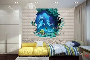Фототапети 3D тухлена стена-аквариум с делфини и риби