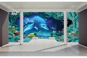 Фототапети 3D стая стена с делфини и морско дъно