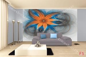 Фототапет абстрактно цвете в оранжево с точки