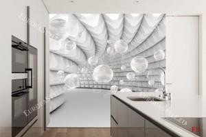 Фототапети 3D спирала сива със сфери в 2 цвята