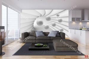 бяло-сива 3д спирала със сфери тунел