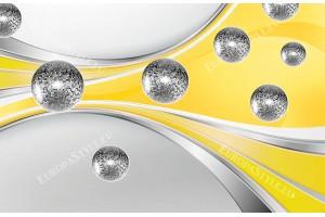 Фототапети абстрактни вълни със сфери в оранжево и жълт