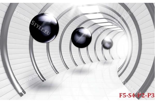 Фототапети 3д тунел с тъмни сфери модел 2