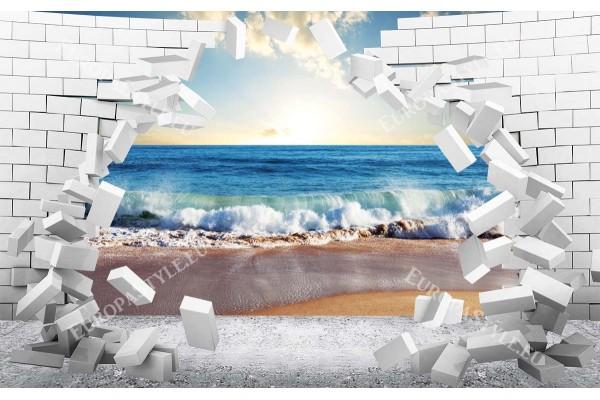 Фототапет 3Д разбита стена тухли изглед море залез