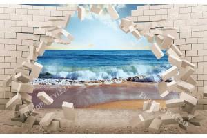 Фототапет 3Д разбита стена тухли изглед море залез в 2 цвята