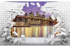 Фототапет 3Д разбита стена тухли изглед от Ню Йорк