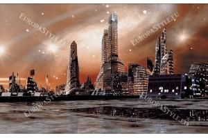 Фототапет изглед фантастичен град от бъдещето в 2 цвята