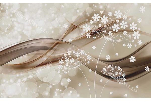 Фототапет дизайнерски с бели цветенца и абстрактни вълни 2 цв.