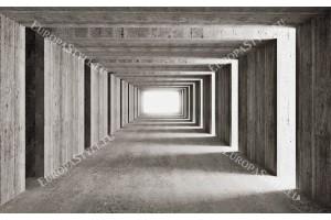 Фототапети 3д бетон тунел кафяв и сив