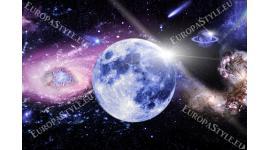 Фототапет космическа планета с розова и синя сянка