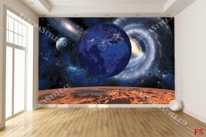 Фототапет космос и земя в синьо и керемида