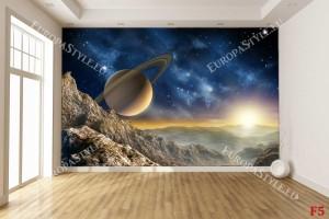 Фототапет космос с планета и слънце залез