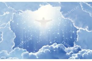 Фототапети космическа абстракция с облаци и Исус