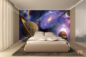 Фототапет космос 3Д абстракция с планети и сияние