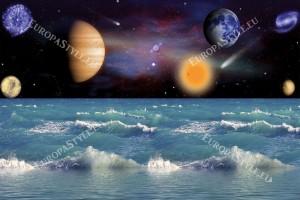 Фототапет изглед космос съчетан с морски вълни