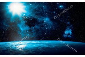 космическа гледка с земя слънце и звезди
