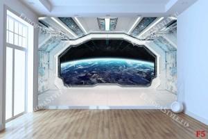 Фототапети 3Д космическа стая с гледка планета-космос