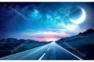 Фототапет нощен път с панорама звезди и луна