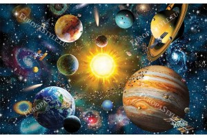 Фототапет космос слънчева система с планети и слънце