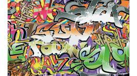 Фототапет графити в сиво и зелено