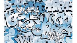 Фототапет графити светли със сини букви